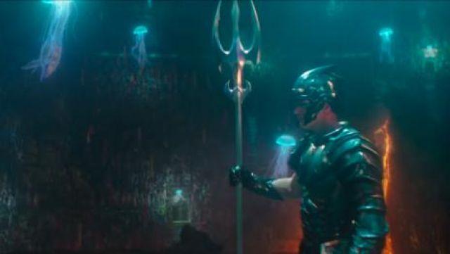 The battle helmet of King Orm (Patrick Wilson) in Aquaman