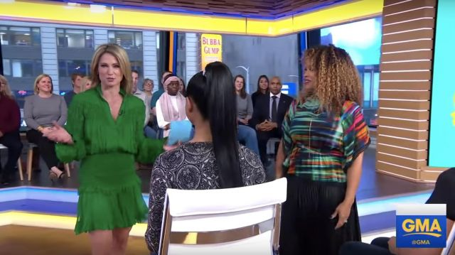 Alexis Shaina Smocked Blouson Sleeve Ruffle Green Dress worn by Amy Robach in Good Morning America Jan 4, 2019
