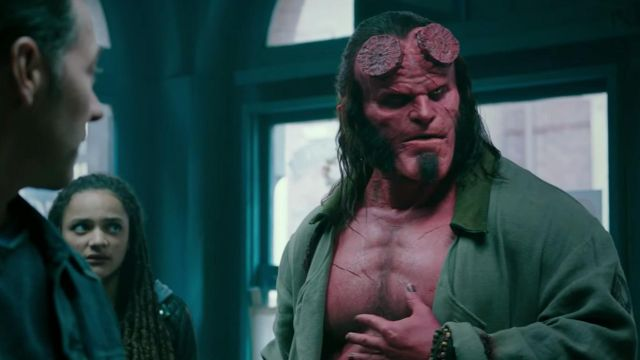 The mask of Hellboy (David Harbour) in Hellboy