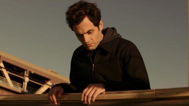Black Hoodie Harrington Jacket worn by Joe Goldberg (Penn Badgley) in YOU S01E09