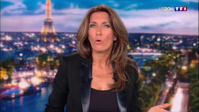 Le veste de tailleur noire col satin de Anne-Claire Coudray dans le journal de 20h le 13.01.2019 sur tf1