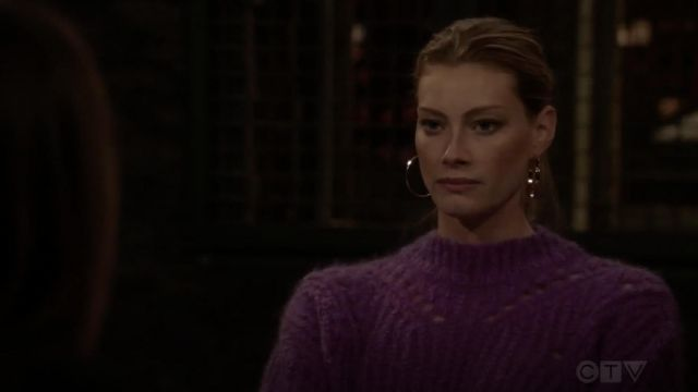 Isabel Marant Mohair & Wool Blend Purple Crop Sweater worn by Sadie Parker (Alyssa Sutherland) in Law & Order: Special Victims Unit S20E11
