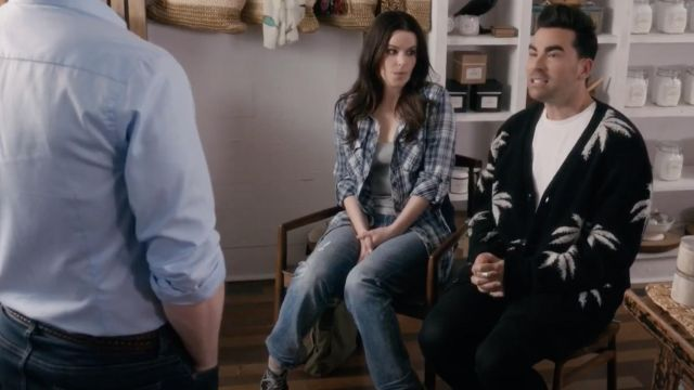 Amiri Palm Cardigan worn by David Rose (Dan Levy) in Schitt's Creek S05E02