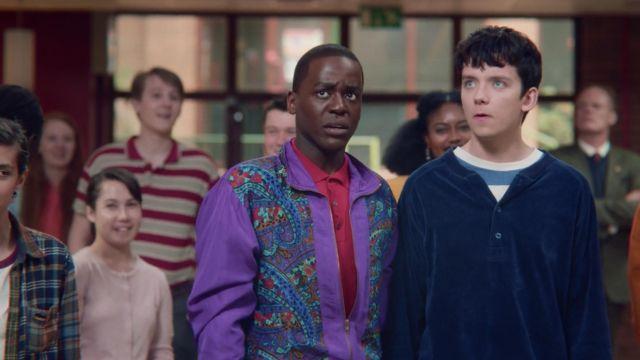 Eric's (Ncuti Gatwa) purple windbreaker by Lavon as seen in Sex Education S01E04