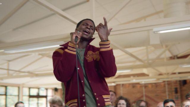 Jackson's (Kedar Williams-Stirling) varsity jacket as seen in Sex Education S01E04