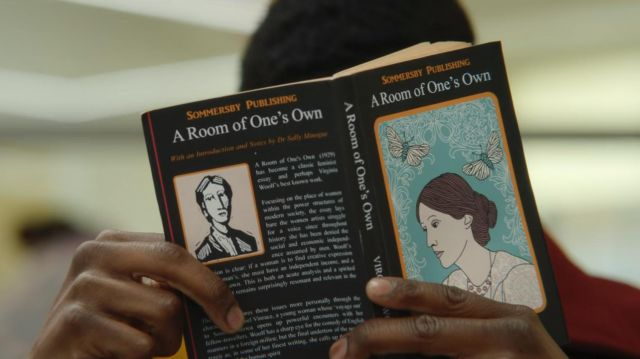 Jackson's (Kedar Williams-Stirling) book A room of one's own by Virginia Woolf as seen in Sex Education S01E04
