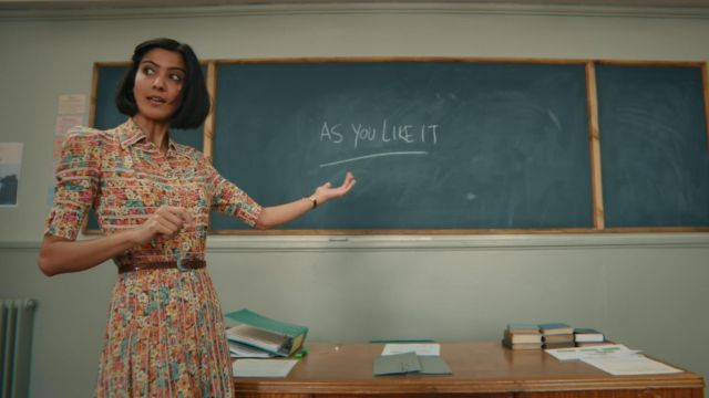 Miss Sands' (Rakhee Thakrar) floral pleated dress as seen in Sex Education S01E01