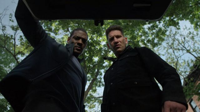The black jacket Dickies worn by Frank Castle (Jon Bernthal) in Marvel's The Punisher S02E07