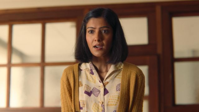Miss Sands' (Rakhee Thakrar) yellow and purple printed blouse as seen in Sex Education S01E06