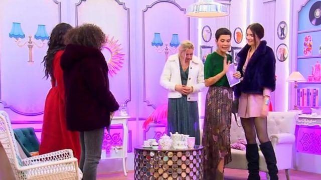 La jupe longue imprimée de Cristina Córdula dans Les reines du shopping du 18/01/2019