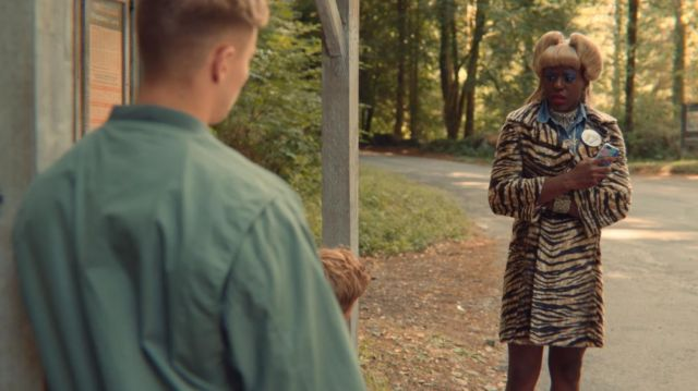 Eric's (Ncuti Gatwa) zebra printed coat as seen in Sex Education S01E05