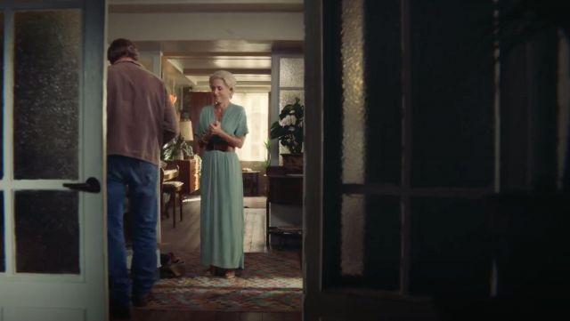Jean's (Gillian Anderson) mint v neck dress as seen in Sex Education S01E04