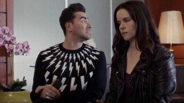 Neil Barrett 'Lightning Bolt' sweatshirt worn by David Rose (Dan Levy) in Schitt's Creek S05E04