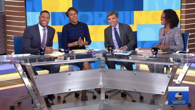 New York & Company Gabrielle Union Collection Stripe Sweater Dress worn by Robin Roberts on Good Morning America