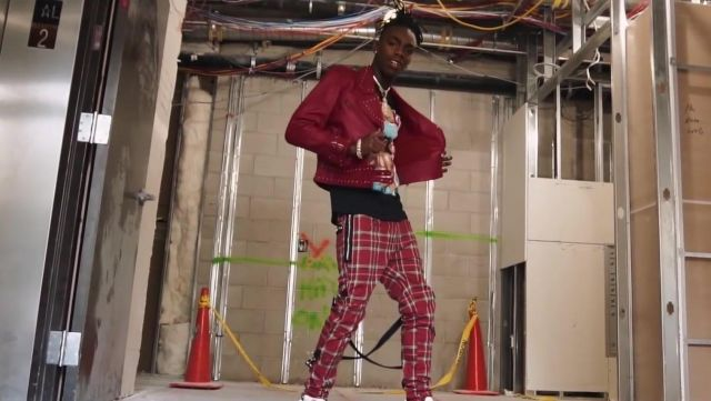 Dsquared2 Medium Check Bondage Pants in Red worn by