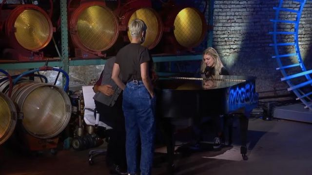 Alberta Ferretti Studded Tapered Jeans worn by Katy Perry on American Idol 2019
