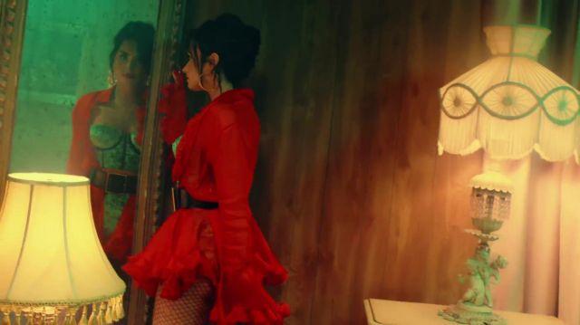 Red ruffle shirt worn by Demi Lovato as seen in her music video Échame La Culpa feat. Luis Fonsi