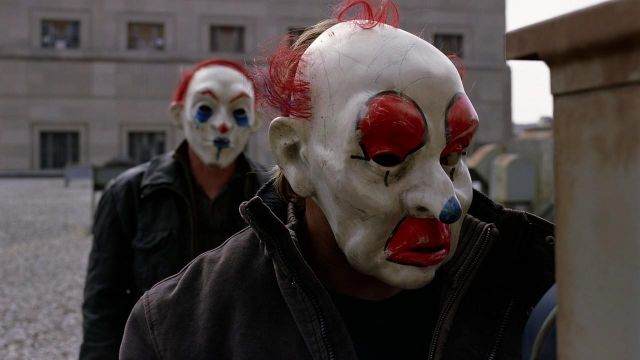 The clown mask worn by Happy (William Smillie) in The Dark Knight : The black Knight