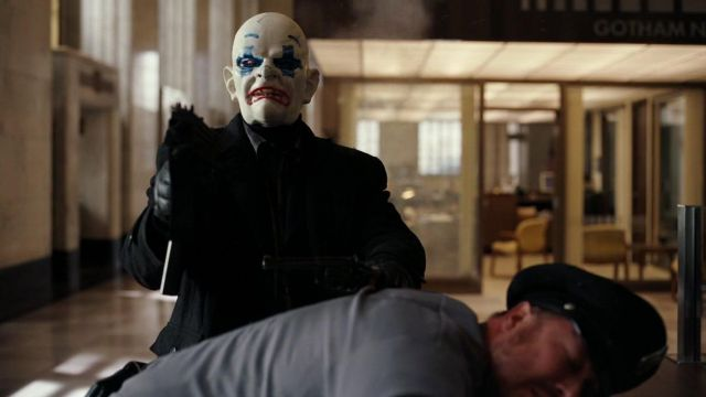 The clown mask worn by Chuckles (Matthew O'neill) in The Dark Knight : The black Knight