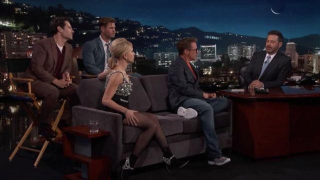 Sophia Webster Lorena crystal embellished stretch suede sock boots worn by Scarlett Johansson on Jimmy Kimmel Live April 8, 2019
