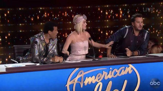 Raisa & Vanessa Shiny Embellished Crop Top worn by Katy Perry on American Idol April 2019