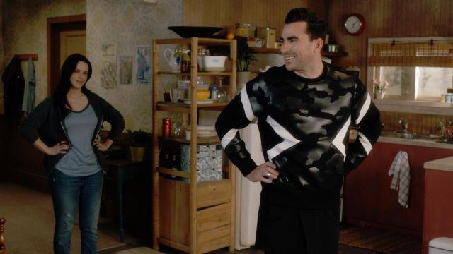 Neil Barrett Neoprene Camouflage Printed Sweatshirt worn by David Rose (Dan Levy) in Schitt's Creek (S03E11)