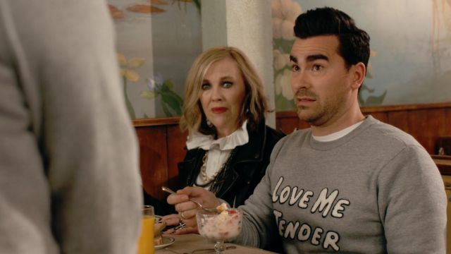 Opening Ceremony Love Me Tender Sweatshirt worn by David Rose (Dan Levy) in Schitt's Creek (S02E01)
