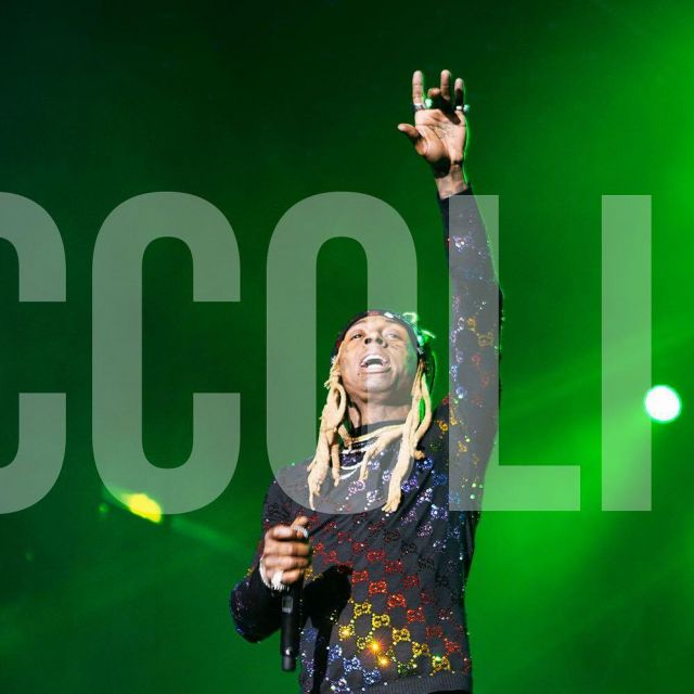 The sweater multi-colored patterned GG Lil Wayne at the festival, Broccoli City