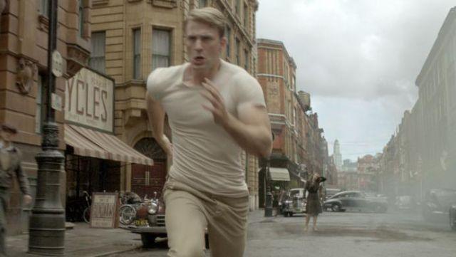 White t-shirt worn by Captain America / Steve Rogers (Chris Evans) in Captain America: The First Avenger