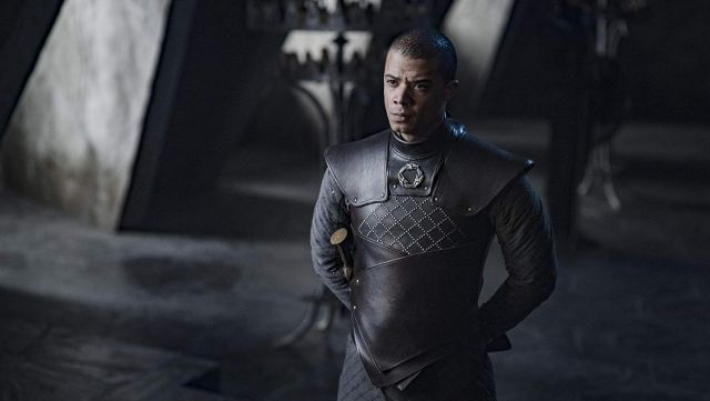 Unsullied leather Armour worn by Grey Worm (Jacob Anderson) in Game of Thrones (S08E05)