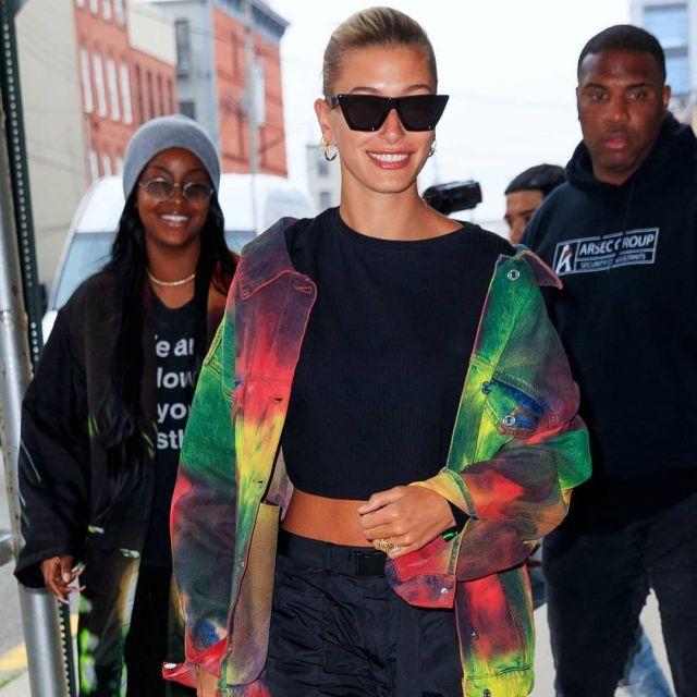 MSGM jacket worn by Hailey Rhode Bieber on her Instagram account @haileyarchive