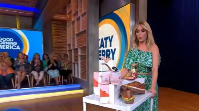 Vika Gazinskaya Leopard-jacquard midi skirt worn by Katy Perry on Good Morning America  May 08,2019