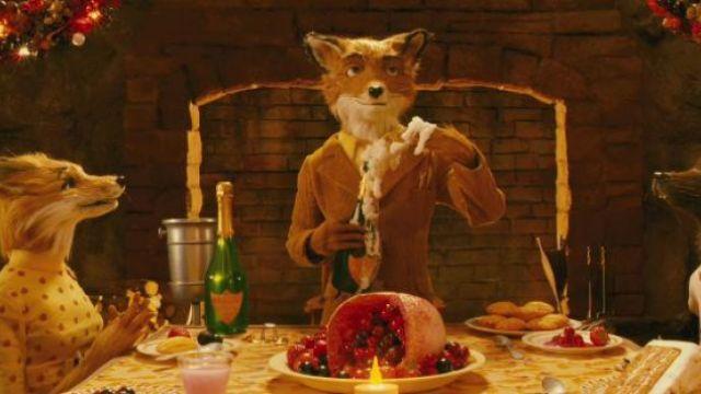 """La bouteille de champagne """"Duc Renard Noir"""" ouverte par Mr. Fox dans Fantastic Mr. Fox"""