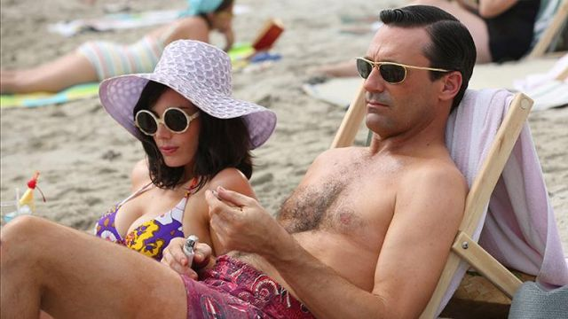 The sun glasses Old focals worn by Don Draper (Jon Hamm) in Mad Men (S06E01)