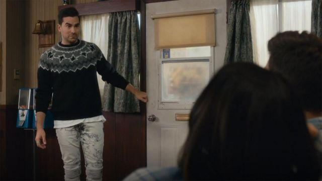 Neil Barrett Ribbed Knee Bleached Skinny Jeans worn by David Rose (Dan Levy) in Schitt's Creek (S03E01)