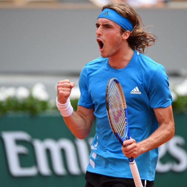 bda517c702 The t-shirt Adidas blue-Stefanos Tsitsipás during Roland Garros 2019 ...