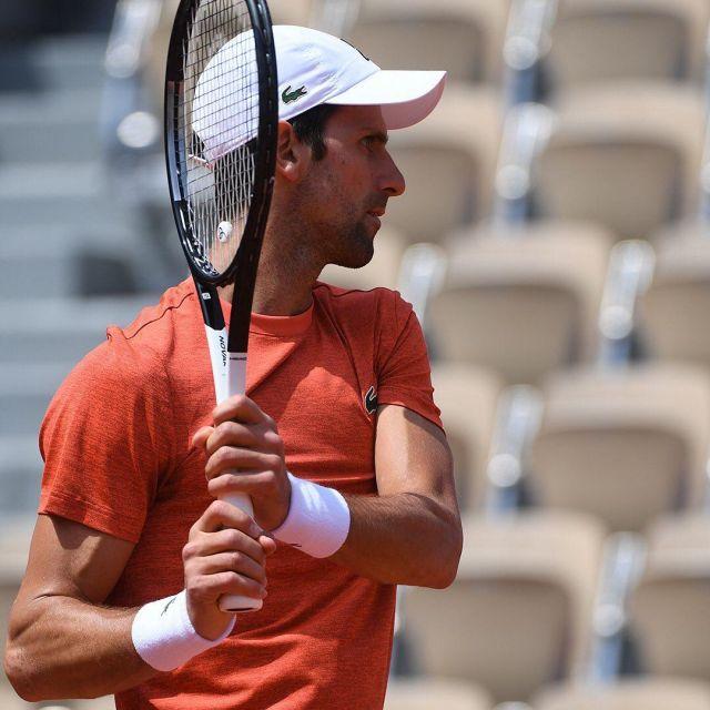 The Cap Lacoste Sport X Novak Djokovic Worn By Novak Djokovic During Roland Garros 2019 Spotern