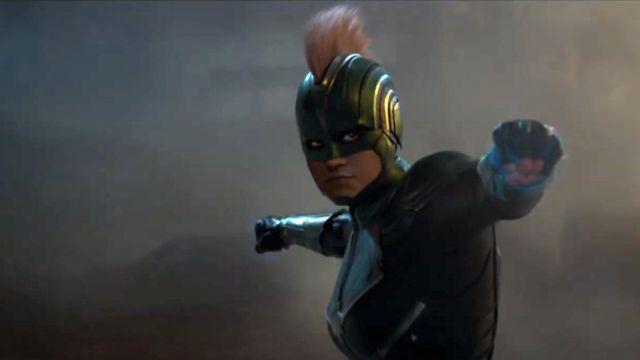 The green helmet of Captain Marvel (Brie Larson) in Captain Marvel