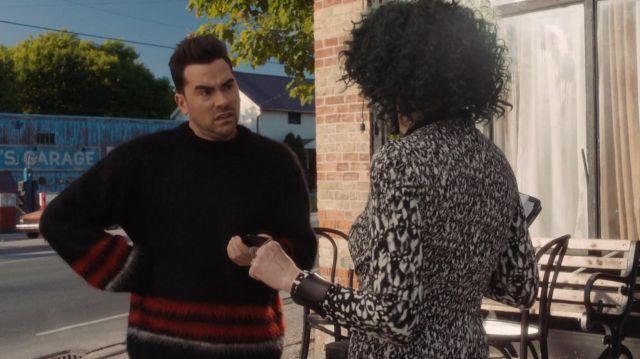 Loewe Striped Mohair-Blend Oversized Sweater in Black of David Rose (Dan Levy) in Schitt's Creek (S05E12)
