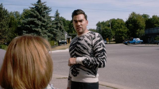 Saint Laurent Black And Ivory Tiger Mohair Sweater worn by David Rose (Dan Levy) in Schitt's Creek (S03E12)