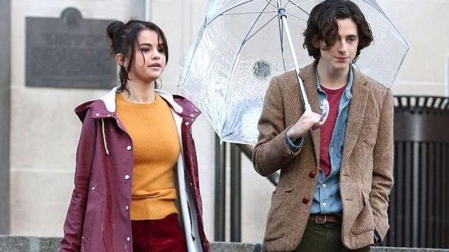 Violet long manteau de pluie porté par Selena Gomez dans Un Jour de pluie à New York