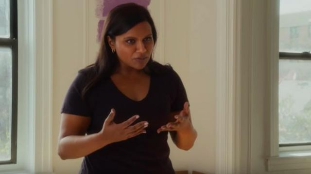 Black V Neck T Shirt Worn By Molly Patel Mindy Kaling As Seen In Late Night Spotern