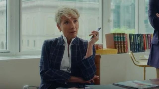 Checked wool-blend blazer worn by Katherine Newbury (Emma Thompson) as seen in Late Night
