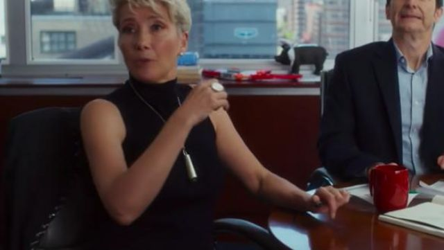 Sleeveless black turtleneck dress worn by Katherine Newbury (Emma Thompson) as seen in Late Night