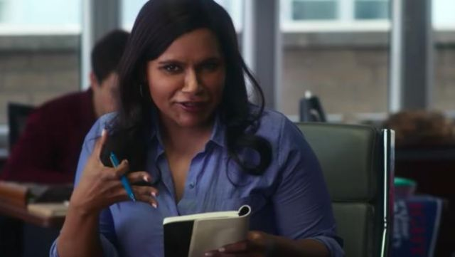 Blue shirt with button worn by Molly Patel (Mindy Kaling) in Late Night