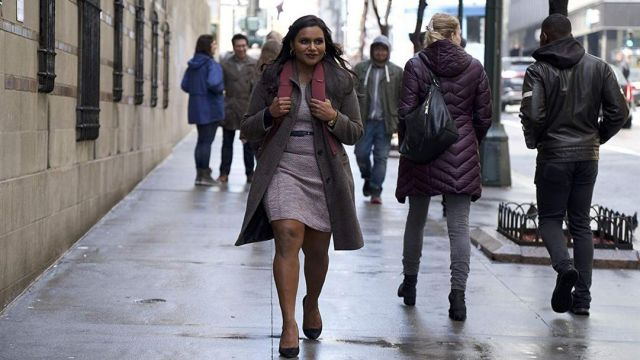 The winter coat worn by Molly Patel (Mindy Kaling) in Late Night