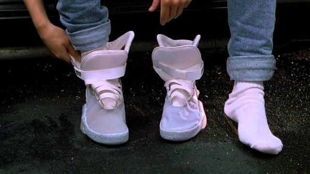 The pair of Nike Air Mag of Marty McFly (Michael J. Fox) in