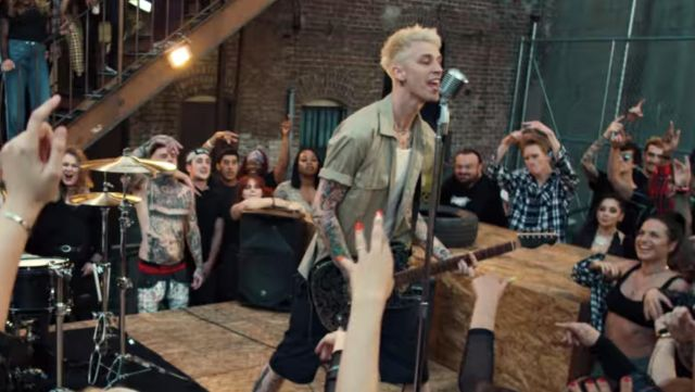 Olive short sleeve shirt worn by Machine Gun Kelly in his I Think I'm OKAY music video with YUNGBLUD, Travis Barker