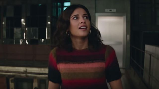 Multicolored striped sweater worn by Elena Houghlin (Naomi Scott) in Charlie's Angels