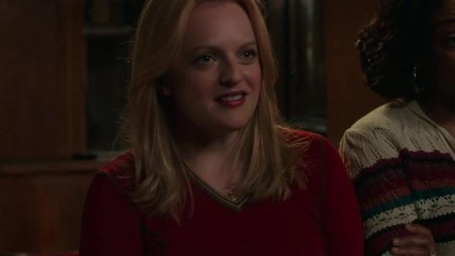 Red Cotton V-Neck Pullovers worn by Claire Walsh (Elisabeth Moss) in The Kitchen